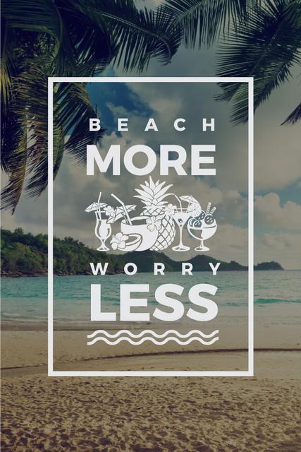 Modèle de visuel Travel concept with sandy beach and palm trees - Pinterest