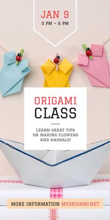 Origami Classes Invitation Paper Garland Graphic Modelo de Design