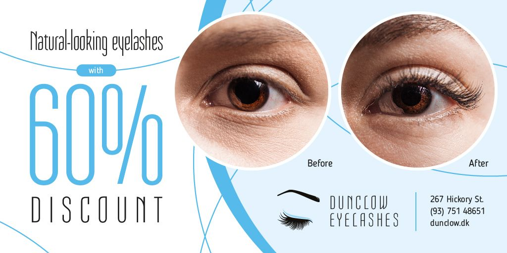 Eyelash Extensions Offer in Blue — Maak een ontwerp