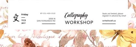 Plantilla de diseño de Calligraphy Workshop Announcement Watercolor Flowers Tumblr