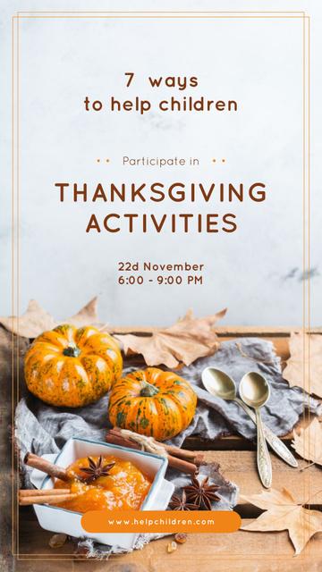 Thanksgiving Activities Ideas Pumpkins for Decoration Instagram Story Tasarım Şablonu