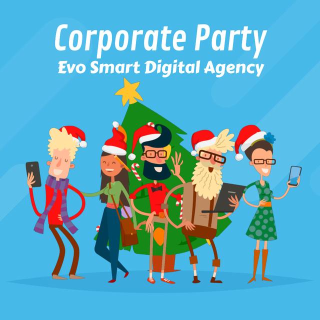 Ontwerpsjabloon van Animated Post van People with gadgets celebrating Christmas