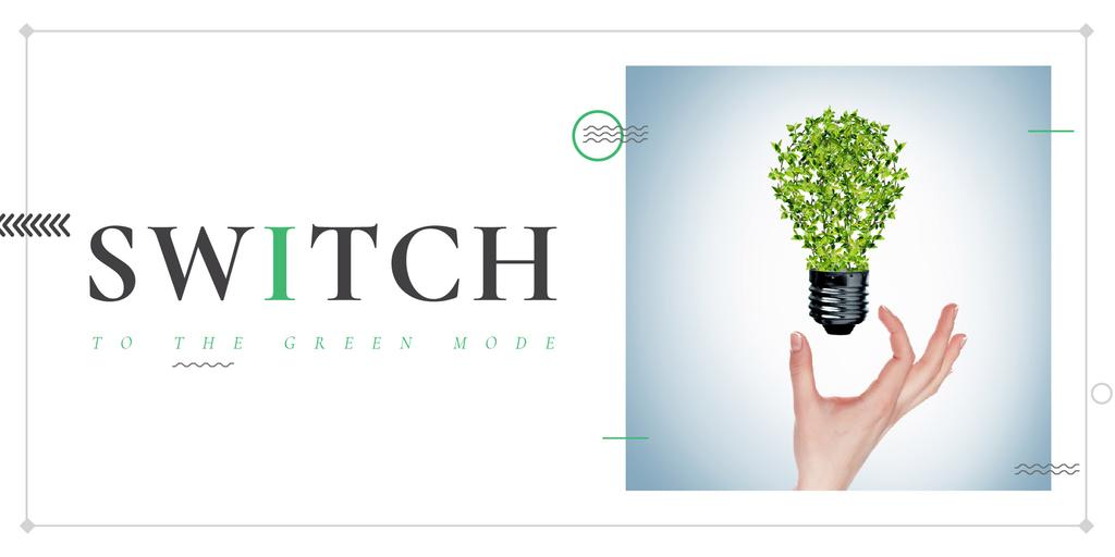 Eco Technologies Concept with Light Bulb and Leaves — Maak een ontwerp