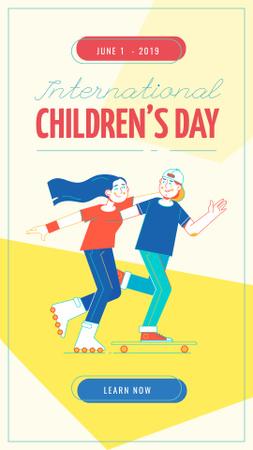 Modèle de visuel Children's Day Kids riding skateboard and roller skates - Instagram Story