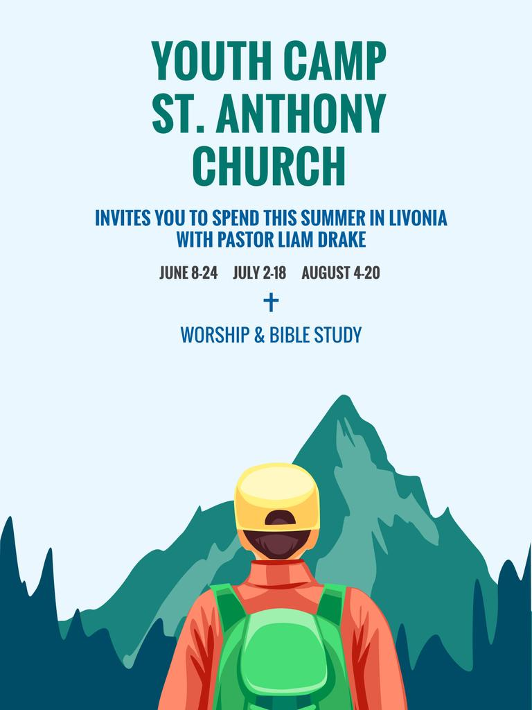 Youth Religion Camp Of St Anthony Church Poster Usa 18x24in Vorlage