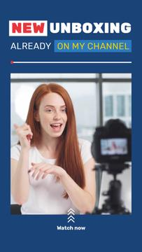 Woman Video Blogger Presenting by Camera | Vertical Video Template