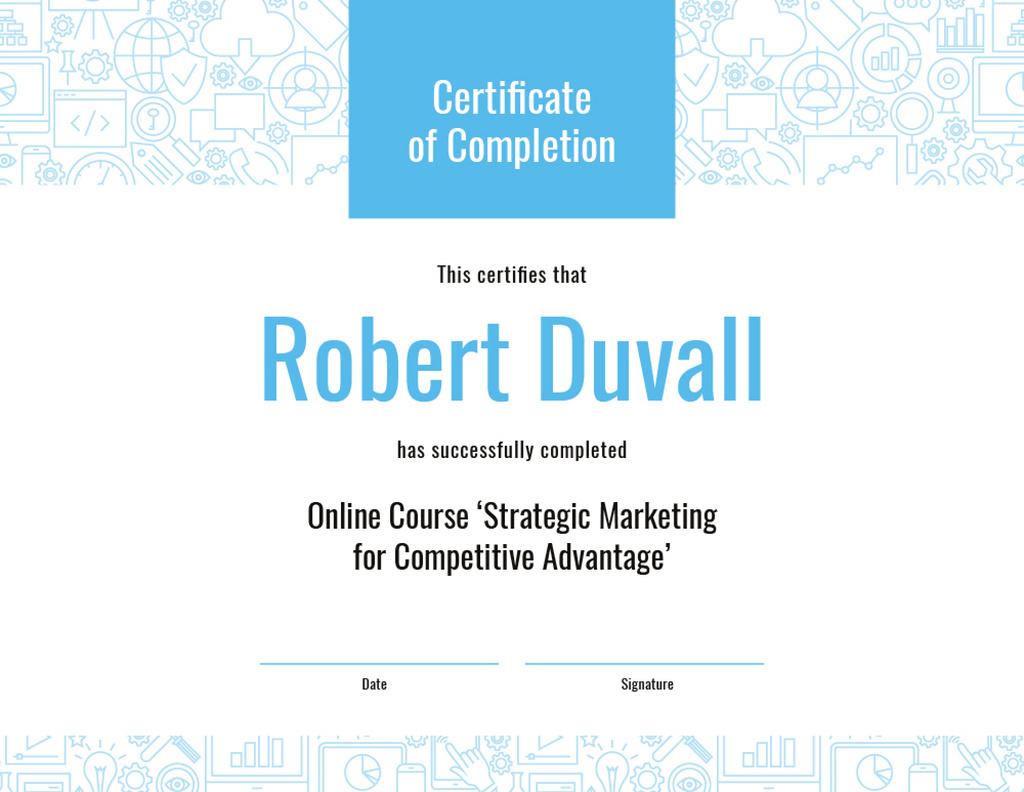 Online Marketing Program Completion in blue — Créer un visuel