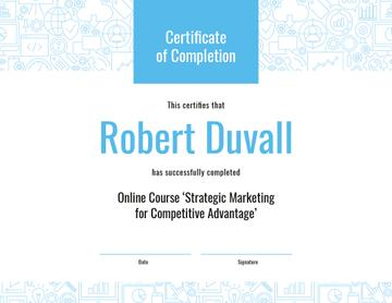 Online Marketing Program Completion in blue