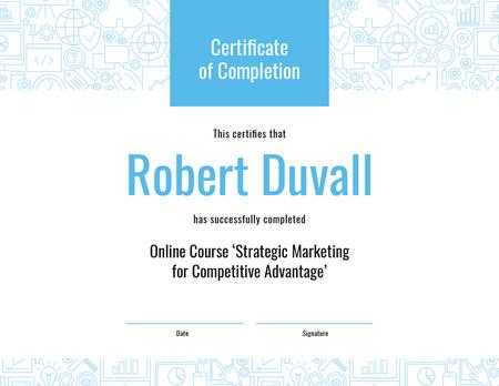 Ontwerpsjabloon van Certificate van Online Marketing Program Completion in blue