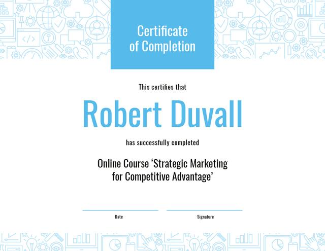 Online Marketing Program Completion in blue Certificateデザインテンプレート