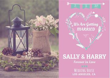 Wedding Invitation Flowers in Pink