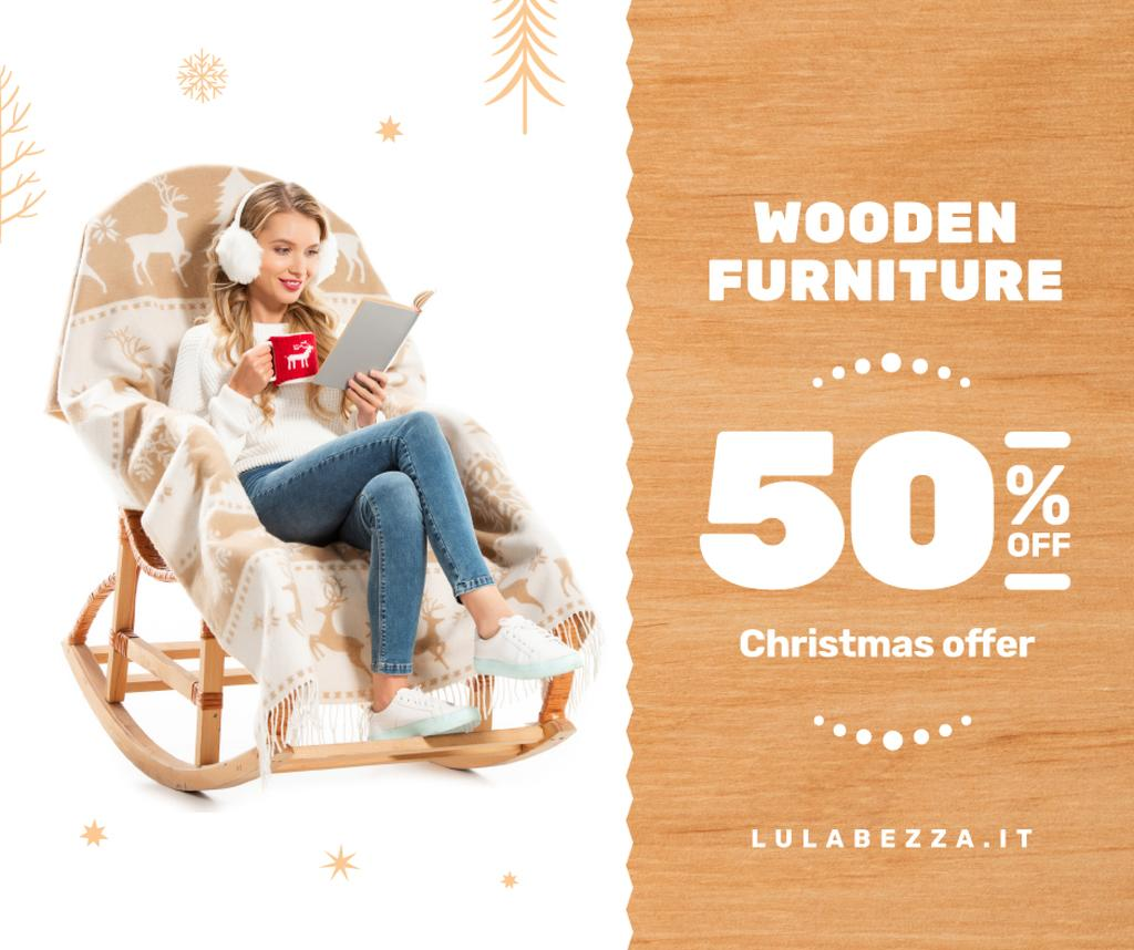 Furniture offer Girl in Christmas Sweater Reading — ein Design erstellen