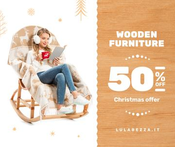 Furniture Offer Girl in Christmas Sweater Reading | Facebook Post Template