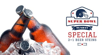 Super Bowl Ad Beer bottles in Ice Facebook AD Tasarım Şablonu