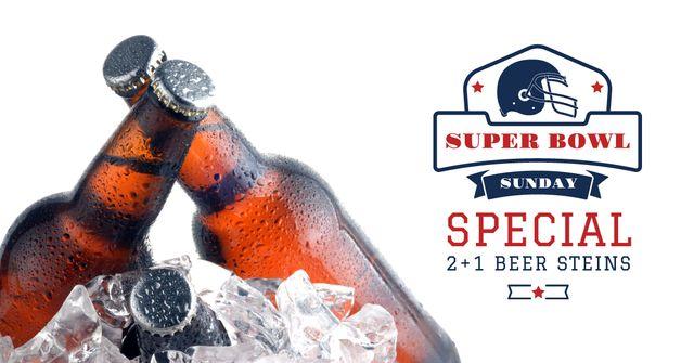Super Bowl Ad Beer bottles in Ice Facebook AD Modelo de Design