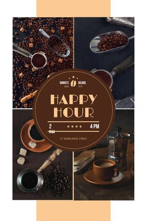 Happy Hour Offer with Coffee Drinks and Beans Pinterest Modelo de Design