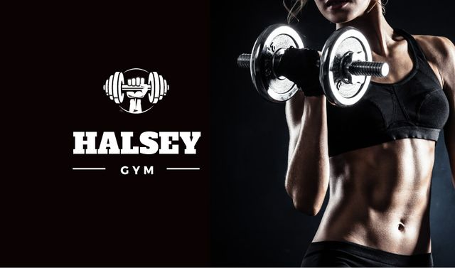 Gym Ad with Woman doing Workout Business card Design Template