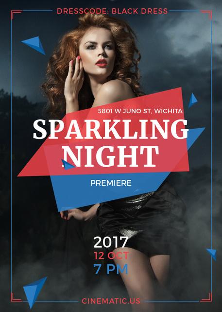 Night Party Invitation Woman in Black Dress Flayer Modelo de Design