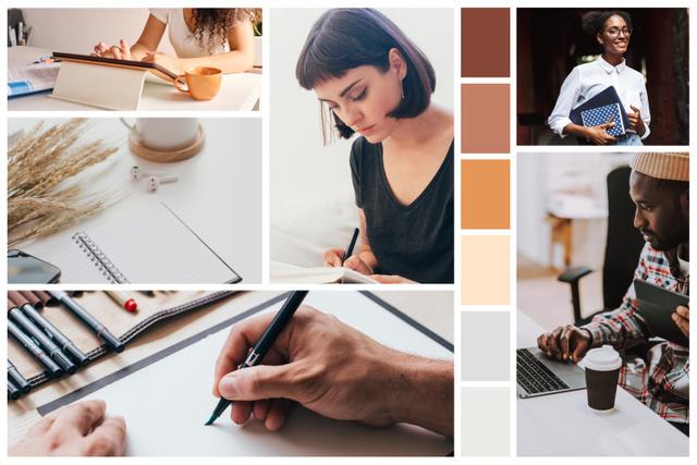 Plantilla de diseño de Creative people in cozy Office Mood Board
