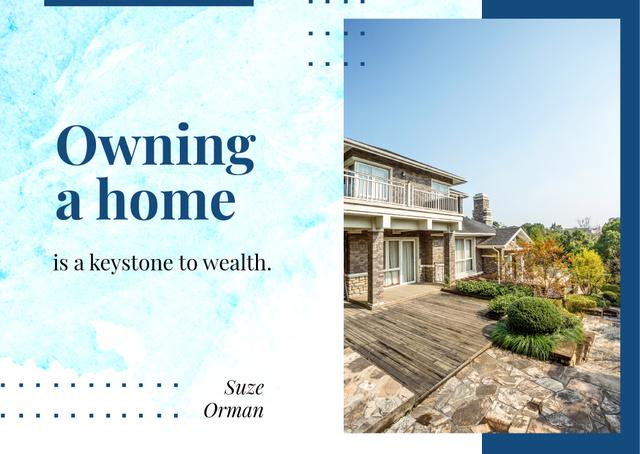 Real Estate Ad with Modern Residential House Postcard Tasarım Şablonu