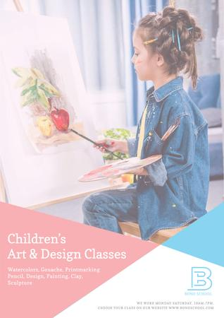 Children's art classes advertisement Posterデザインテンプレート