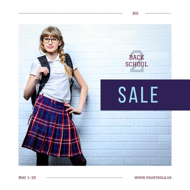 Back to School Sale Confident Female Student Instagram AD Design Template
