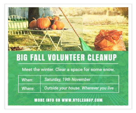 Plantilla de diseño de Big fall volunteer cleanup Medium Rectangle