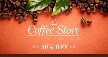Discount for Coffee Store Facebook AD Modelo de Design