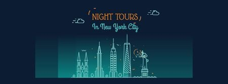New York Night Futuristic City Lights Facebook Video cover Modelo de Design