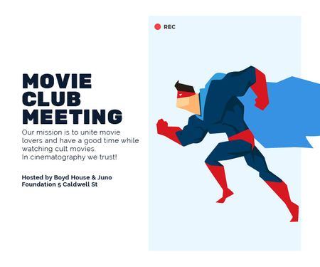 Plantilla de diseño de Movie Club Meeting Man in Superhero Costume Large Rectangle