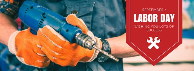 Labor Day with Worker holding drill Facebook cover Modelo de Design