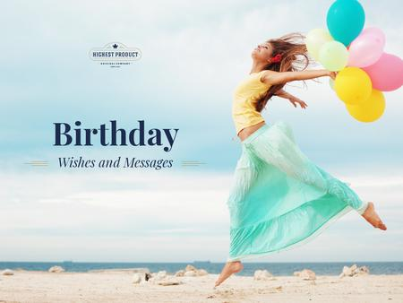 Birthday wishes with Girl holding Balloons Presentation Design Template