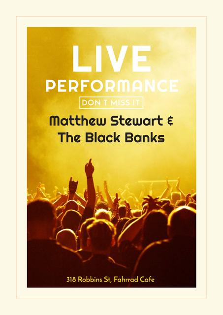 Live Performance Announcement Crowd at Concert Poster Modelo de Design