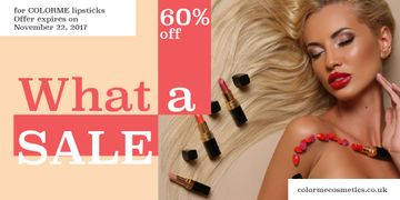 Lipsticks store Offer with Beautiful Woman