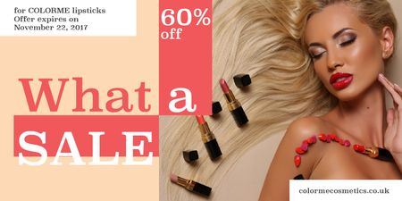 Ontwerpsjabloon van Twitter van Lipsticks store Offer with Beautiful Woman
