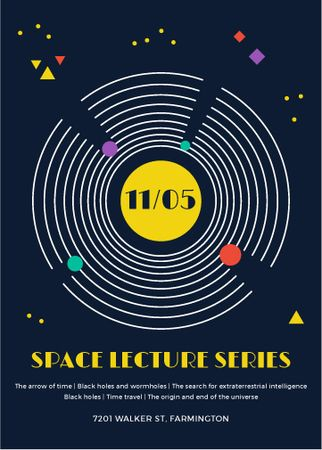 Template di design Space Event Announcement Space Objects System Invitation