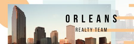 Real Estate Ad with Orleans Modern Buildings Email header Modelo de Design