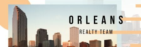 Real Estate Ad with Orleans Modern Buildings Email headerデザインテンプレート