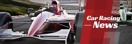 Ontwerpsjabloon van Twitter van car racing news banner