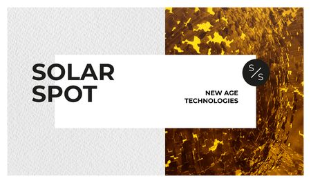 Solar Spot Ad with Shiny golden surface Business card Tasarım Şablonu