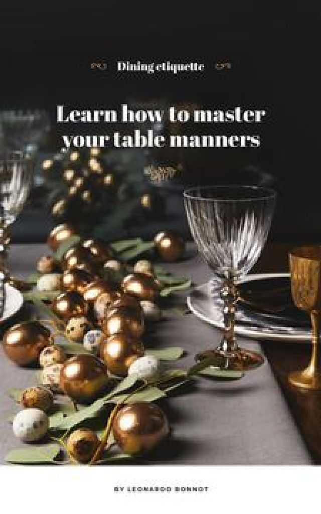 Festive formal dinner table setting Book Cover Tasarım Şablonu