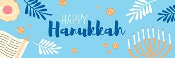 Happy Hanukkah Greeting Menorah in Blue | Email Header Template