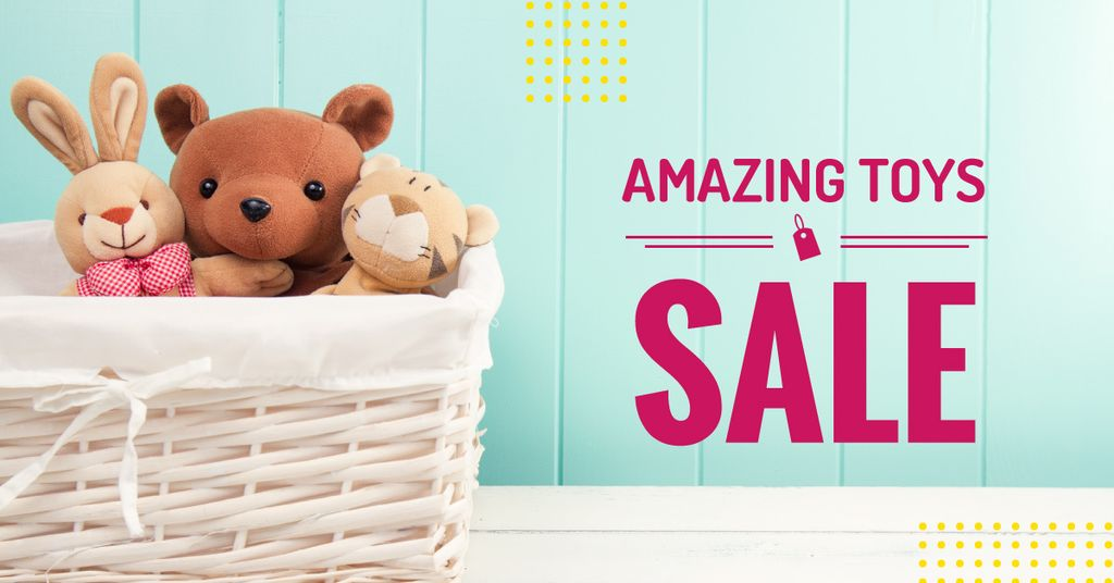 Sale Announcement Stuffed Toys in Basket | Facebook Ad Template — Crear un diseño