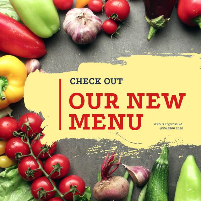 New Vegetarian menu Offer Animated Post Modelo de Design