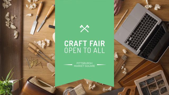 Ontwerpsjabloon van Youtube van Craft Fair Announcement with Wooden Toy and Tools