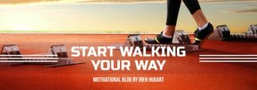 Sports Motivation Quote Runner at Stadium | Tumblr Banner Template