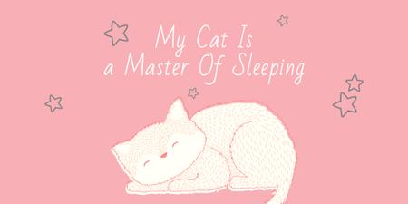 Cute Cat Sleeping in Pink Twitter Modelo de Design