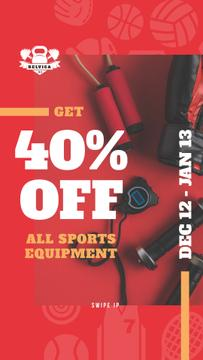 Fitness Ad with Sports Equipment in Red