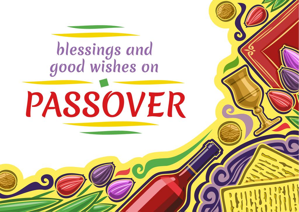 Happy Passover Holiday Greeting Postcard Design Template