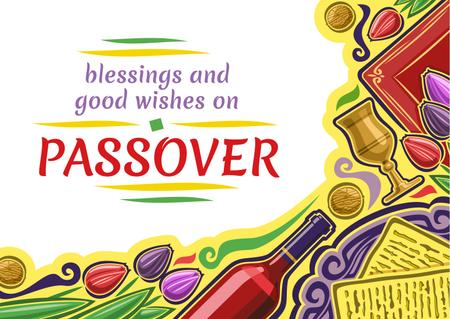 Plantilla de diseño de Happy Passover Holiday Greeting Postcard